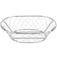 American Metalcraft WIR3 Oval Chrome Chicken Wire Basket - 9 1/2 inch x 6 1/2 inch x 2 1/2 inch