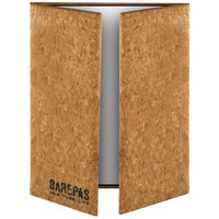 Menu Solutions CO55D-NC 4 1/4 inch x 14 inch, 8 1/2 inch x 14 inch Customizable Natural Cork Gatefold Style 3 View Menu Cover