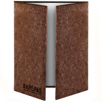 Menu Solutions CO55D-DB 4 1/4 inch x 14 inch, 8 1/2 inch x 14 inch Customizable Dark Cork Gatefold Style 3 View Menu Cover