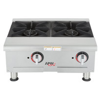 APW Wyott GHPW-3i Champion Wide Three Burner Countertop Gas Hot Plate - 84,000 BTU
