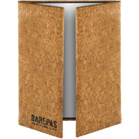 Menu Solutions CO55C-NC 4 1/4 inch x 11 inch, 8 1/2 inch x 11 inch Customizable Natural Cork Gatefold Style 3 View Menu Cover