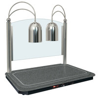 Hatco DCSB400-3624-2 Dual Lamp Decorative Carving Station with Night Sky-Colored Heated Base and Bright Nickel Finish - 120V, 1300W