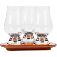 Anchor Hocking Stolzle 3555331 Glencairn Glass Tasting Set of (3) 6 oz. Glasses with Tray