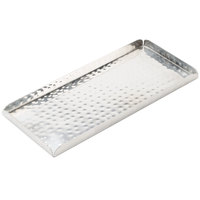 American Metalcraft HMST10 10 inch x 4 1/2 inch Rectangular Hammered Stainless Steel Tray