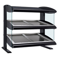 Hatco HZMS-42D Black 42 inch Slanted Double Shelf Heated Zone Merchandiser - 120/208V