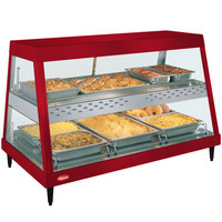 Hatco GRHD-3PD Warm Red Stainless Steel Glo-Ray 45 1/2 inch Full Service Dual Shelf Merchandiser