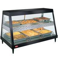 Hatco GRHD-3PD Black Stainless Steel Glo-Ray 45 1/2 inch Full Service Dual Shelf Merchandiser