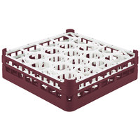 Vollrath 52693 Signature Lemon Drop Full-Size Burgundy 20-Compartment 4 5/16 inch Medium Glass Rack