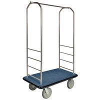 CSL 2000BK-050 Chrome Finish Bellman's Cart with Rectangular Blue Carpet Base, Black Bumper, Clothing Rail, and 8 inch Gray Polyurethane Casters - 43 inch x 23 inch x 72 1/2 inch
