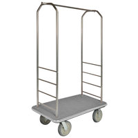 CSL 2000BK-040 Chrome Finish Bellman's Cart with Rectangular Gray Carpet Base, Gray Bumper, Clothing Rail, and 5 inch Gray Polyurethane Casters - 43 inch x 23 inch x 72 1/2 inch