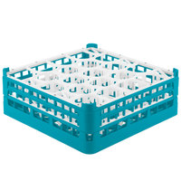 Vollrath 52703 Signature Lemon Drop Full-Size Light Blue 20-Compartment 5 11/16 inch Tall Glass Rack