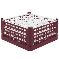 Vollrath 52709 Signature Lemon Drop Full-Size Burgundy 20-Compartment 9 1/16 inch XX-Tall Plus Glass Rack