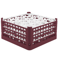 Vollrath 52708 Signature Lemon Drop Full-Size Burgundy 20-Compartment 8 1/2 inch XX-Tall Glass Rack