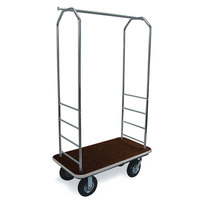 CSL 2000GY-010 Chrome Finish Bellman's Cart with Rectangular Brown Carpet Base, Gray Bumper, Clothing Rail, and 8 inch Black Pneumatic Casters - 43 inch x 23 inch x 72 1/2 inch