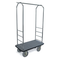 CSL 2000BK-020 Chrome Finish Bellman's Cart with Rectangular Gray Carpet Base, Black Bumper, Clothing Rail, and 8 inch Gray Pneumatic Casters - 43 inch x 23 inch x 72 1/2 inch
