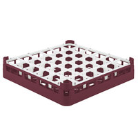 Vollrath 52689 Signature Full-Size Burgundy 36-Compartment 2 13/16 inch Short Glass Rack