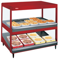 Hatco GRSDS/H-41DHW Warm Red Glo-Ray 41 inch High Wattage Horizontal / Slanted Double Shelf Merchandiser