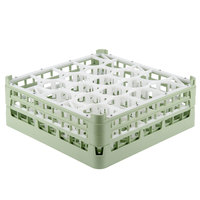 Vollrath 52704 Signature Lemon Drop Full-Size Light Green 20-Compartment 6 1/4 inch Tall Plus Glass Rack