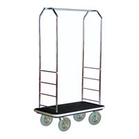 CSL 2000GY-020 Chrome Finish Bellman's Cart with Rectangular Black Carpet Base, Gray Bumper, Clothing Rail, and 8 inch Gray Pneumatic Casters - 43 inch x 23 inch x 72 1/2 inch