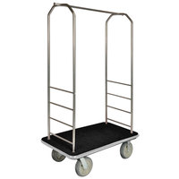 CSL 2000BK-040 Chrome Finish Bellman's Cart with Rectangular Black Carpet Base, Gray Bumper, Clothing Rail, and 5 inch Gray Polyurethane Casters - 43 inch x 23 inch x 72 1/2 inch