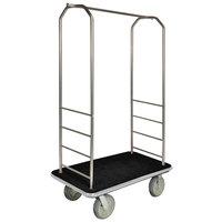 CSL 2000BK-040 Chrome Finish Bellman's Cart with Rectangular Black Carpet Base, Gray Bumper, Clothing Rail, and 5 inch Gray Polyurethane Casters - 43 inch x 23 inch x 72 1/2 inch