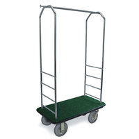 CSL 2000BK-020 Chrome Finish Bellman's Cart with Rectangular Green Carpet Base, Black Bumper, Clothing Rail, and 8 inch Gray Pneumatic Casters - 43 inch x 23 inch x 72 1/2 inch