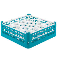 Vollrath 52704 Signature Lemon Drop Full-Size Light Blue 20-Compartment 6 1/4 inch Tall Plus Glass Rack