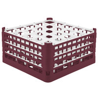 Vollrath 52713 Signature Full-Size Burgundy 25-Compartment 8 1/2 inch XX-Tall Glass Rack