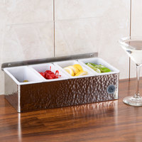 American Metalcraft HMCD4 4-Compartment Hammered Condiment Holder