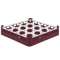 Vollrath 52694 Signature Full-Size Burgundy 16-Compartment 2 13/16 inch Short Glass Rack