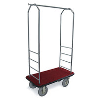 CSL 2000BK-020 Chrome Finish Bellman's Cart with Rectangular Red Carpet Base, Black Bumper, Clothing Rail, and 8 inch Gray Pneumatic Casters - 43 inch x 23 inch x 72 1/2 inch