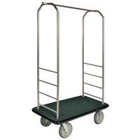 CSL 2000BK-050 Chrome Finish Bellman's Cart with Rectangular Green Carpet Base, Black Bumper, Clothing Rail, and 8 inch Gray Polyurethane Casters - 43 inch x 23 inch x 72 1/2 inch