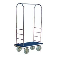 CSL 2000GY-020 Chrome Finish Bellman's Cart with Rectangular Blue Carpet Base, Gray Bumper, Clothing Rail, and 8 inch Gray Pneumatic Casters - 43 inch x 23 inch x 72 1/2 inch