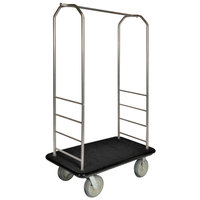 CSL 2000BK-050 Chrome Finish Bellman's Cart with Rectangular Black Carpet Base, Black Bumper, Clothing Rail, and 8 inch Gray Polyurethane Casters - 43 inch x 23 inch x 72 1/2 inch