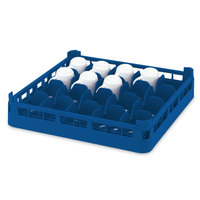 Vollrath 52676 Signature Full-Size Royal Blue 16-Cup 4 1/8 inch Medium Rack
