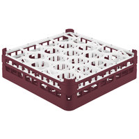 Vollrath 52702 Signature Lemon Drop Full-Size Burgundy 20-Compartment 4 13/16 inch Medium Plus Glass Rack