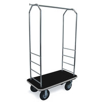 CSL 2000GY-010 Chrome Finish Bellman's Cart with Rectangular Black Carpet Base, Gray Bumper, Clothing Rail, and 8 inch Black Pneumatic Casters - 43 inch x 23 inch x 72 1/2 inch