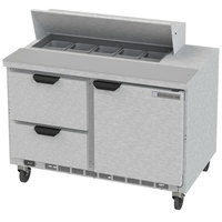 Beverage Air SPED48HC-10-2 48 inch 1 Door 2 Drawer Refrigerated Sandwich Prep Table
