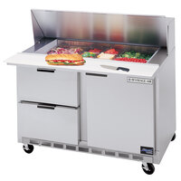 Beverage Air SPED48-10-2 48 inch Refrigerated Salad / Sandwich Prep Table with 1 Door, 2 Drawers