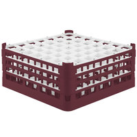 Vollrath 52724 Signature Full-Size Burgundy 49-Compartment 7 1/8 inch X-Tall Glass Rack