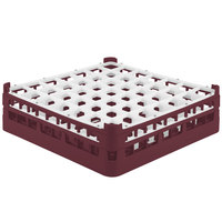 Vollrath 52722 Signature Full-Size Burgundy 49-Compartment 4 5/16 inch Medium Glass Rack