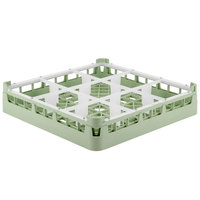Vollrath 52726 Signature Full-Size Light Green 9-Compartment 2 13/16 inch Short Glass Rack