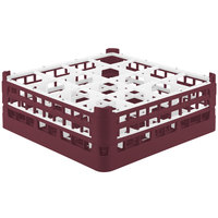 Vollrath 52719 Signature Full-Size Burgundy 16-Compartment 5 11/16 inch Tall Glass Rack