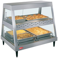 Hatco GRHDH-2PD Stainless Steel Glo-Ray 33 3/8 inch Full Service Dual Shelf Merchandiser with Humidity Chamber