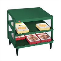 Hatco GRPWS-2418D Hunter Green Glo-Ray 24 inch Double Shelf Pizza Warmer - 960W
