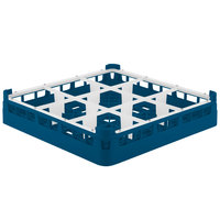 Vollrath 52726 Signature Full-Size Royal Blue 9-Compartment 2 13/16 inch Short Glass Rack