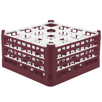 Vollrath 52721 Signature Full-Size Burgundy 16-Compartment 8 1/2 inch XX-Tall Glass Rack