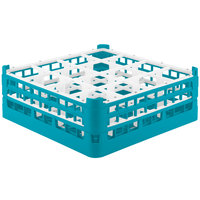 Vollrath 52719 Signature Full-Size Light Blue 16-Compartment 5 11/16 inch Tall Glass Rack