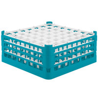 Vollrath 52724 Signature Full-Size Light Blue 49-Compartment 7 1/8 inch X-Tall Glass Rack