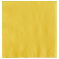 Choice 10 inch x 10 inch Sunny Yellow 2-Ply Beverage / Cocktail Napkin - 250/Pack